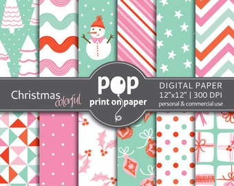 Christmas digital paper - Colorful  Xmas classic color, pink & mint, Christmas tree ornaments, holidays gift tags,  snowman digital paper