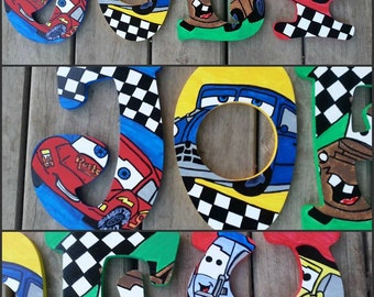 Cars Inspired Hand Painted Letters, Lighting McQueen Letters, Mater Letters, Custom Wood Letters, Custom Name Letters, Painted Letters