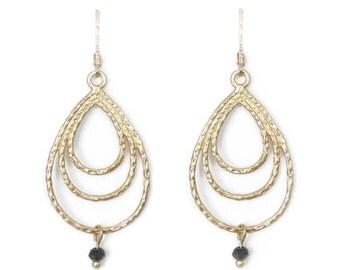 "BALANCE / tear drop""earrings» gold plated matte 18 k / / handmade in Quebec"
