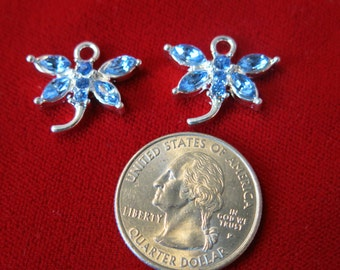 "3pc ""butterfly"" charms in antique silver style with rhinestone (BC446)"