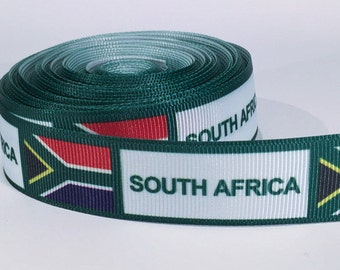 "5 yards of 1 inch ""South Africa"" grosgrain ribbon"