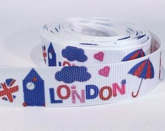 "5 yards of 7/8 inch ""London"" grosgrain ribbon"