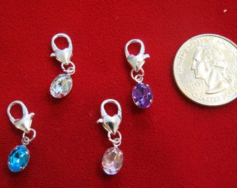 "8pc clip-on ""drop"" charms in antique silver style (BC575)"