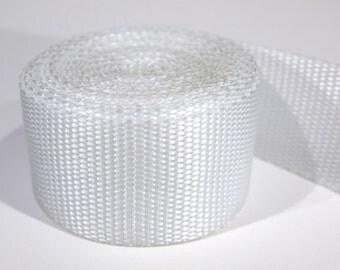 3 yards of 1.25 inch / 32mm white webbing, strap (WB17)