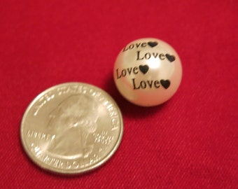 "8pc ""Love"" imitation pearl spacer beads (BC667)"