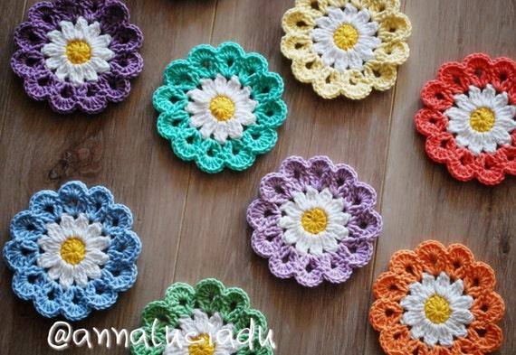Crochet Daisy Flower Blanket Pattern : Crochet, crochet flowers, crochet daisy, flower applique ...