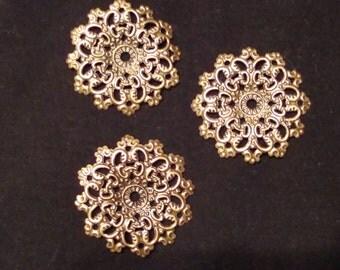 10 Filigree, jewelry findings, antique bronze, pendants, metal 47mm x 47mm