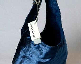 blue silk velvet bag with buckle Cod, 1004