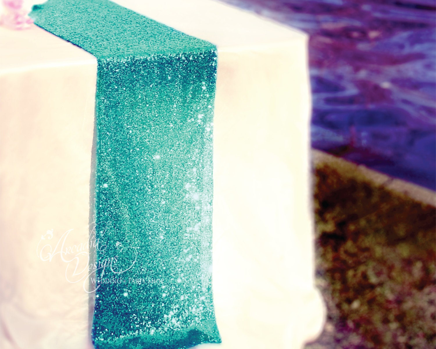 Turquoise Sequin Table Runner Ready To Ship Sparkly Wedding