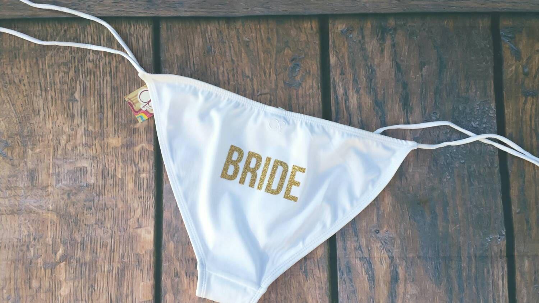 Glitter Bride Bathing Suit Bikini Bottoms By