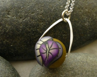 Polymer Clay Pendant with Purple Leaves