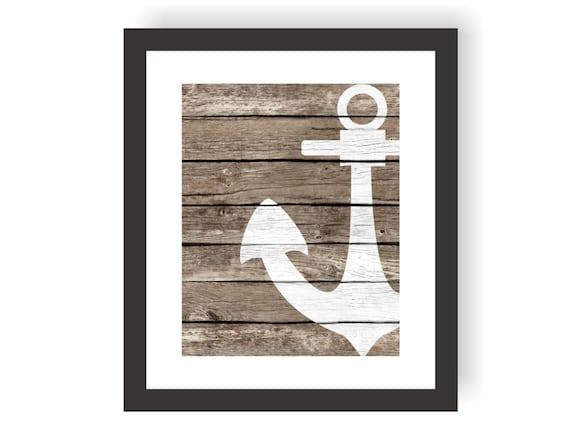 Nautical Anchor Decor Art Print Rustic Nautical By