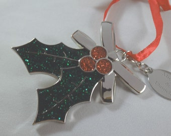 Personalized. Holly & Berries Christmas Ornament with Red Pouch, Engraved for Free
