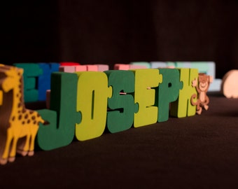 Name Puzzle with 2 animals / characters - Painted - Handmade Wooden Jigsaw Names Unique Personalized Childs gift