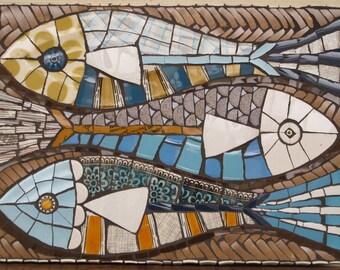 Retro style china fish mosaic panel