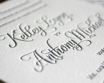 Wedding Invitation, Letterpress Wedding Invitation, Letterpress Wedding Invites, Elegant Letterpress Invitation