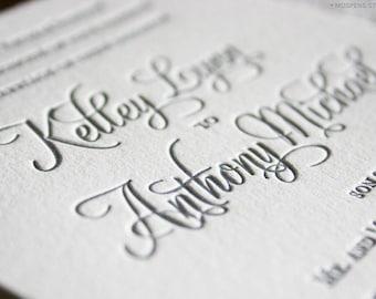 Letterpress Wedding Invitations, Letterpress Wedding Invitation Sample, Letterpress Wedding Invites, Elegant Letterpress Invitation