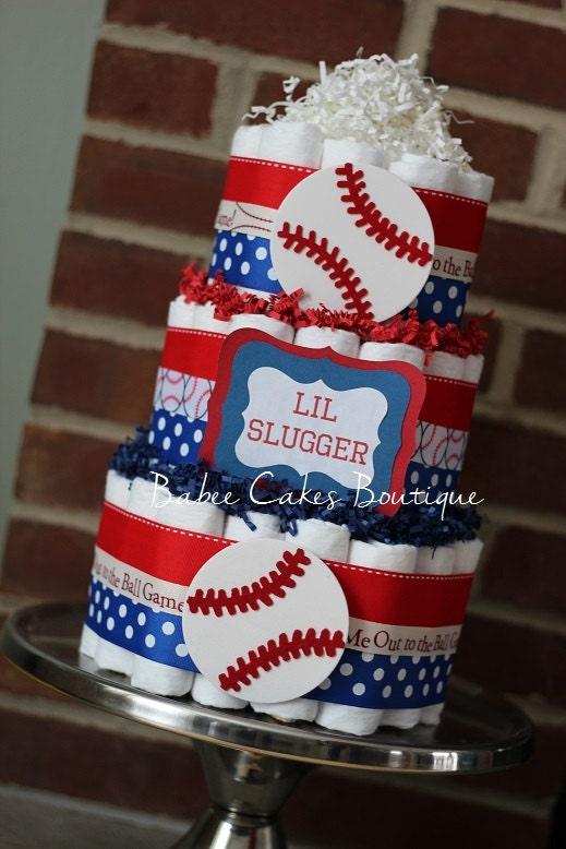 3 Tier Baseball Diaper Cake Boys Baseball By