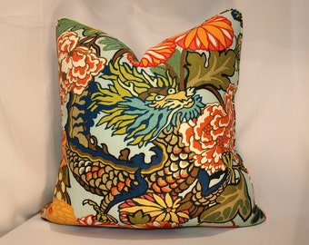 One or Both Sides - ONE High End Schumacher Chiang Mai Dragon Aquamarine Pillow Cover with Self Cording