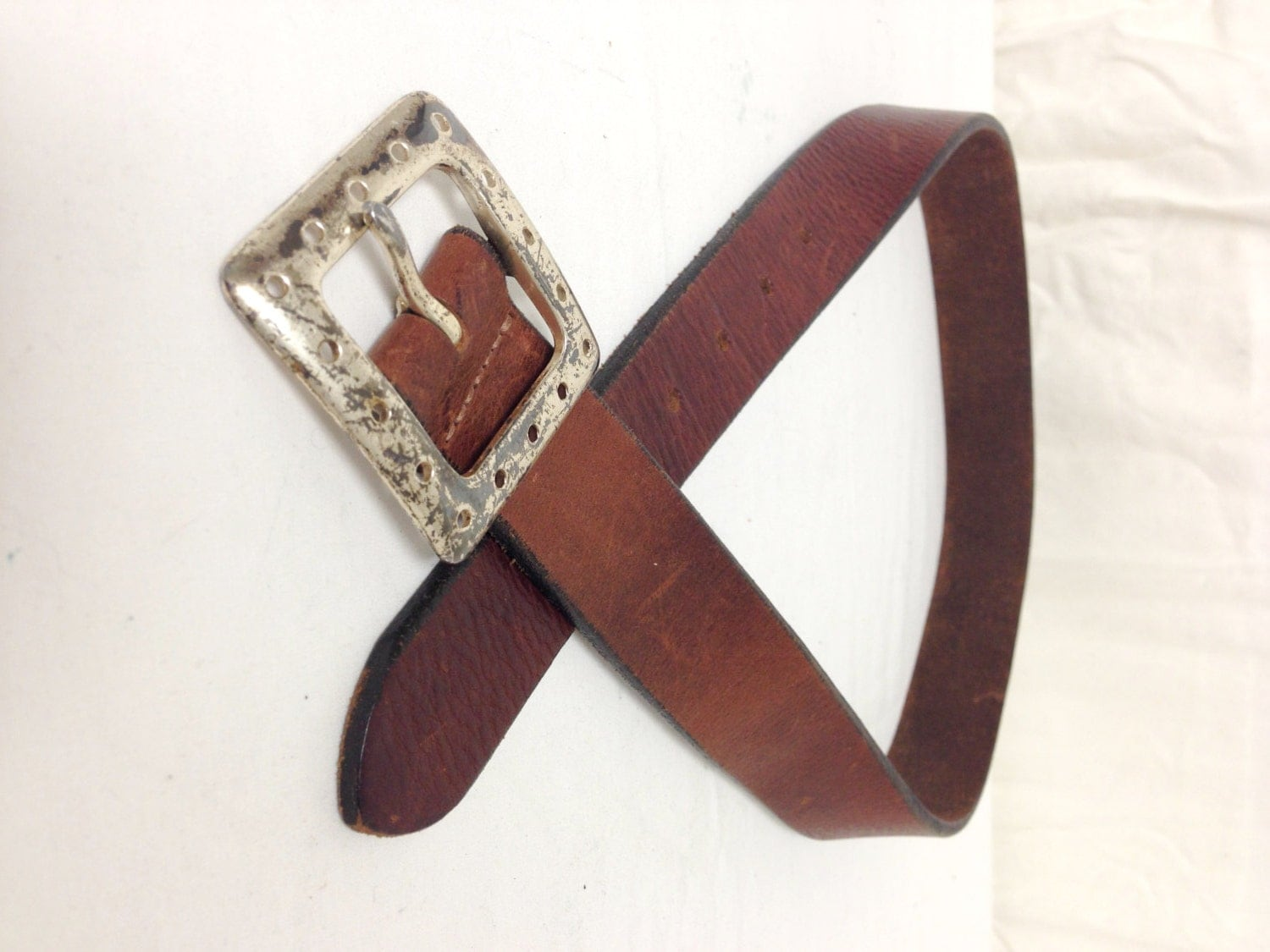 brown leather belt silver tone buckle32