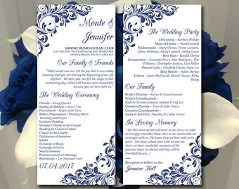 "Printable Program Template Instant Download - Printable Wedding Program ""Jenna"" Navy Blue Flourish Ceremony Program DIY Wedding"