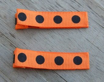 Black and Orange Polka Dot Ribbon Hair Clips - Black and Orange Polka Dot Hair Clips - Orange Ribbon Hair Clip - Halloween Toddler Hair Clip