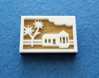 House and tree brooch - oak and white acrylic