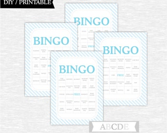 Instant Download Light blue and Grey Boy Baby shower Game, Traditional Bingo 30 Cards DIY Printable (PDES001)