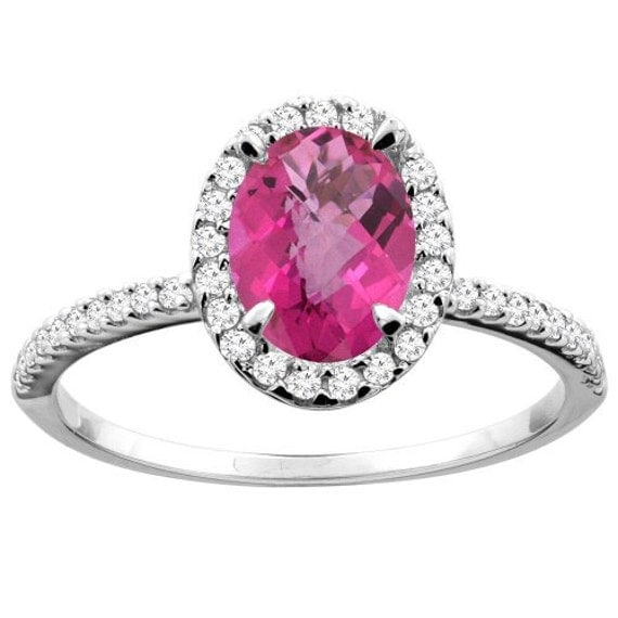 10k white gold pink topaz ring oval 8x6mm by