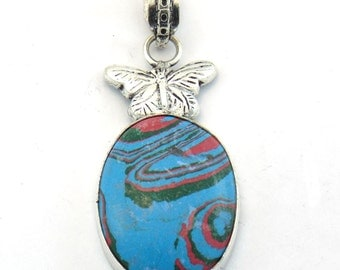 Butterfly Style Rainbow Calsilica Pendant-Cabchon Oval Silver Jewelry-Rainbow Calsilica Silver Jewelry-Wholesale Price-DTP-1307