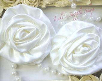 "Set of 2 - White Large Satin Roses - 3"" Large Satin Rolled Flowers - Wholesale Lot - Satin Rolled Rosettes - Fabric Flowers Wholesale"