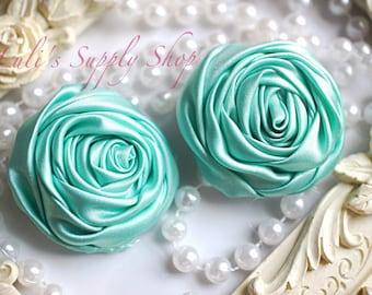 "2"" Large Satin Ribbon Roses - Set of Two - Rolled Rosettes - Aqua Satin Rolled Rosettes - Large Satin Roses - Aqua Satin Flowers"