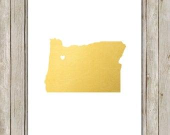 8x10 Oregon State Print, Geography State Art, Metallic Gold Printable Art, Oregon Poster, Office Art, Home Decor, Instant Digital Download