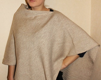 Knit Cape Pancho Beige Pancho Beige Scarf Knit Shawl Modern Clothing Accessories