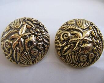 Vintage Sea Motifs Relief Gold-Tone Clip-On Earrings