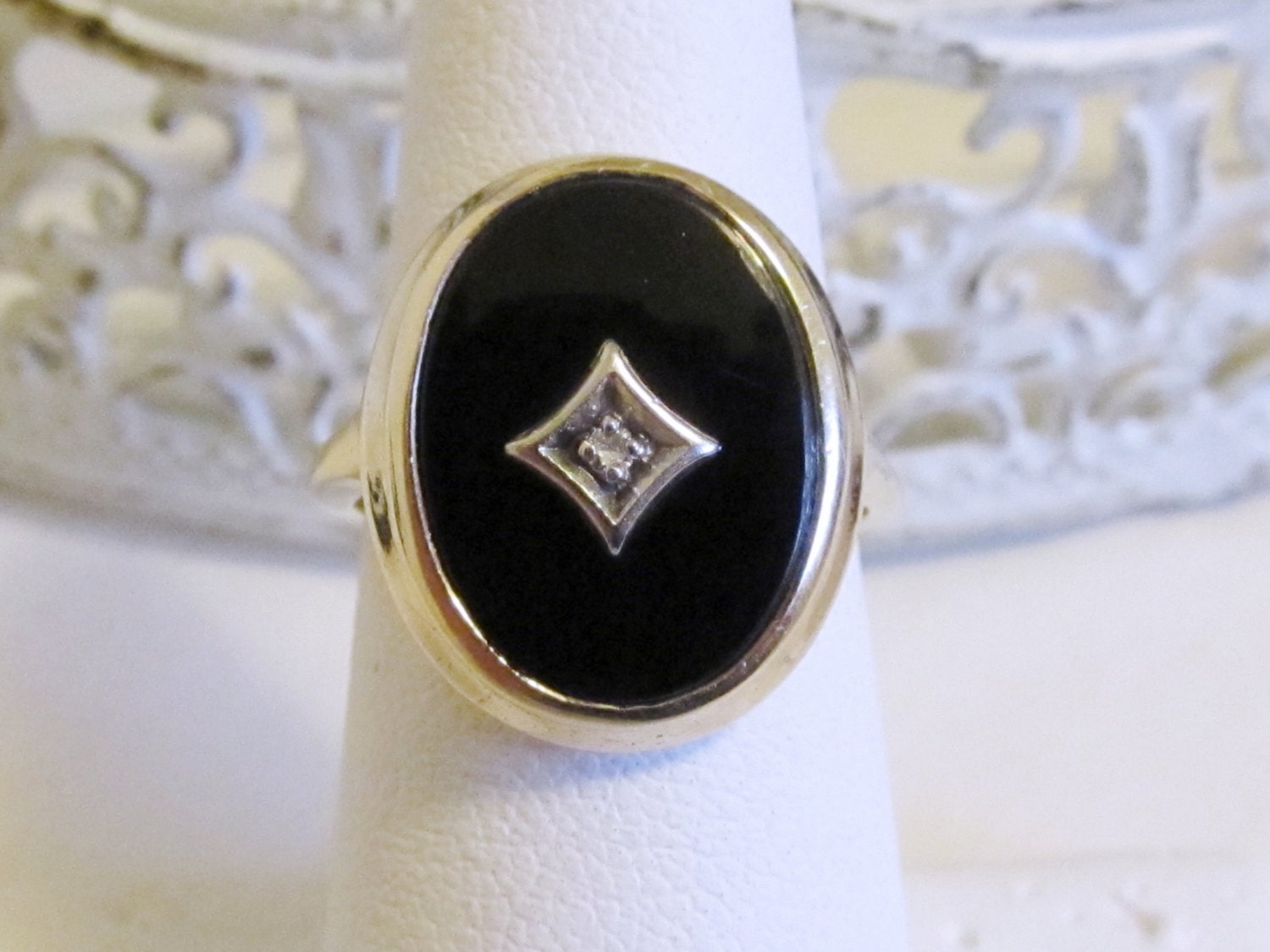 antique black onyx mourning ring by
