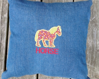 PERSONALIZED Custom Made Horse Pillow 14 x 14
