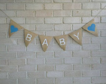 Baby Shower Party Decoration Hessian Burlap Banner Bunting - Blue Text