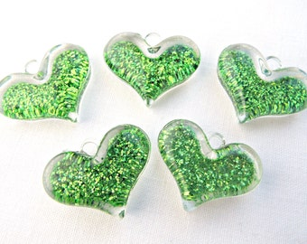 Green Heart Charms, 5 Glitter Pendants, Resin Heart Charms, Chunky Hearts, Valentine Charm, Bubblegum Necklace, UK Seller, Jewelry Supplies