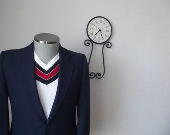 1950s Vintage Mens Navy Blue Suit Jacket / Dark Blue Blazer / Mid Century Sport Coat - Size 38 R - Medium / Navy Blazer