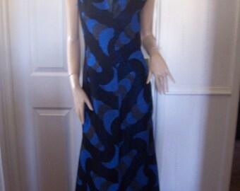 Stunning Shimmery Metallic Sun and Moon Authentic Vintage Maxi Dress Sz 8/10 Free Uk Post