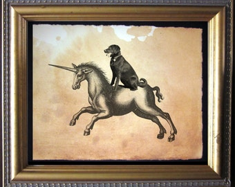Labrador Retriever Chocolate Lab Riding Unicorn- Vintage Collage Art Print on Tea Stained Paper - Vintage Art Print