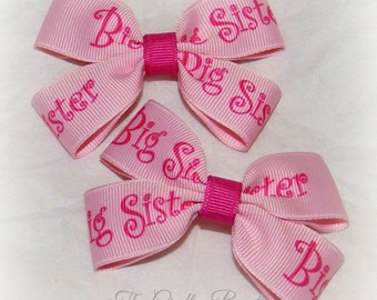 Big Sister Bow ~ Small Pink Bow ~ Sister Hair Bow ~ Sister Clippies ~ Sister Pigtails ~ Baby Toddler Bow ~ Pink Sister Bow ~Small Sister Bow