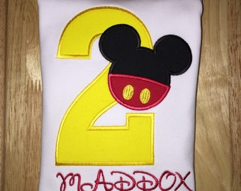 Split Mickey Mouse Applique Shirt or Bodysuit with name and number - Personalized Embroidered Shirt