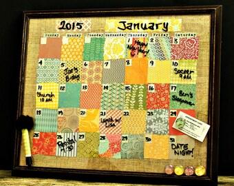 FREE SHIPPING, Dry Erase Calendar, Magnetic Calendar, Crazy Quilt, Office Family Calendar, Kitchen Organizer, Command Center, Family Planner