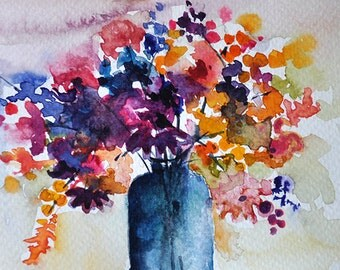 ORIGINAL Watercolor Painting, Colorful Watercolor Flowers in a Vase 4x6 inch