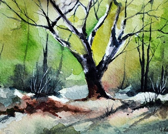 ORIGINAL Watercolor Landscape Painting, Impressionist Tree Painting 4x6 inch
