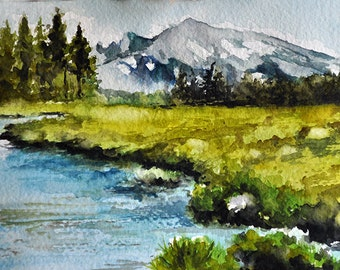 Original Watercolor Painting, Mountain Landscape 5x7 inch