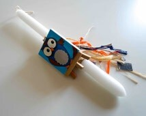 """Easter Candle,""""Canvas with a Owl"""",all is Handmade,Boy Easter Candle,Orthodox,Unique Candle,Easter gift,Boy nursery decor,Brown and Blue"""