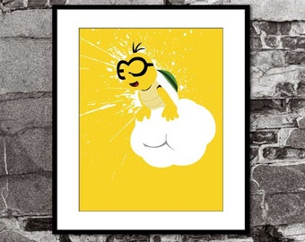 Lakitu Splatter - Super Mario Brothers Inspired - Video Game Art Poster